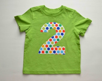 Boys 2nd Birthday Shirt, Size 2T, Lime Green Multi Colored Polka Dots, Applique Number 2, Short Sleeve, Second Birthday Tee, Ready to Ship