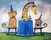 Kids Wall Art Original Painting, Jungle Animals Nursery Artwork, Happy Birthday Party, Childrens Room Decor, Tiger, Monkey, Giraffe