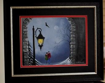 Landscape Painting:  Snowy, Snowy Night - original painting, bird, snow, winter, blue, trees, snow owl, romatic snow scene, nature, wildlife