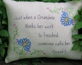 Great Grandma Embroidered Pillow -