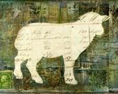 Sheep Print: Rustic Farm Sheep Print, French Farmhouse Sheep, Sheep Silhouette, 5x7 (127x178mm), 8x10 (203x254mm) or 11x14 (279x356mm)