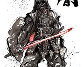 8x10 Print Darth Vader Samurai style with calligraphy DARKNESS