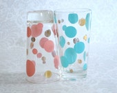 Retro Polka Dot Barware Glasses Drink Tumblers, Pair of  Pink & Turquoise Drinking Glasses, Aqua Pink Polka Dots Water Glasses
