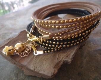 GLITTER STUDS & VELOUR gold wrap bracelet (1117)