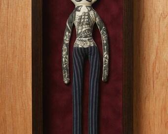 Tattoo Man Doll / Carnival Doll / Sideshow / Tattooed Doll / Doll Art / Shadowbox / Vintage Traditional Tattoo / Vintage