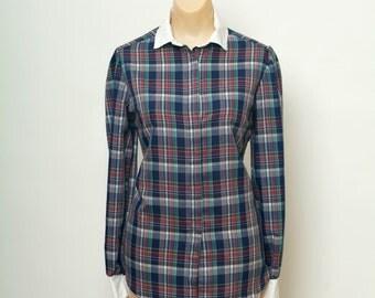 Vintage 80s Plaid Button Down Shirt / 80s Shit / Blouse / Womens  shirt /1980s top / Long Sleeve Shirt / Blue Shirt