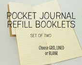Pocket Journal Refill Booklets, Set of 2, Grid, Lined or Blank, Mix and Match