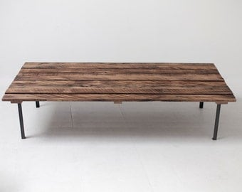 Low Profile Reclaimed Picnic Style Coffee Table, Mid Century Inspired