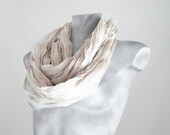 Infinity Scarf Cream squared Scarf Squared Scarf Creased Scarf Loop Scarf Circle Scarf Soft Scarf