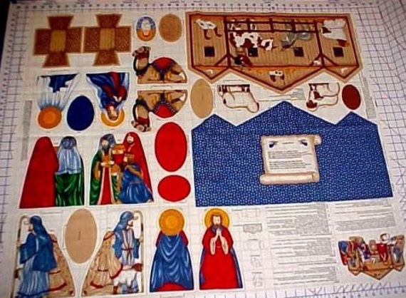 Christmas Nativity Manger Fabric Panel Cut Sew Cranston