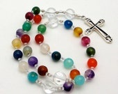 Rainbow Agate Anglican Rosary with Sterling Silver Cross