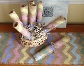 Easter Pastel Burlap Chevron Placemats, Rustic Zig Zag Table Decor Set of Two by sweetjanesplan