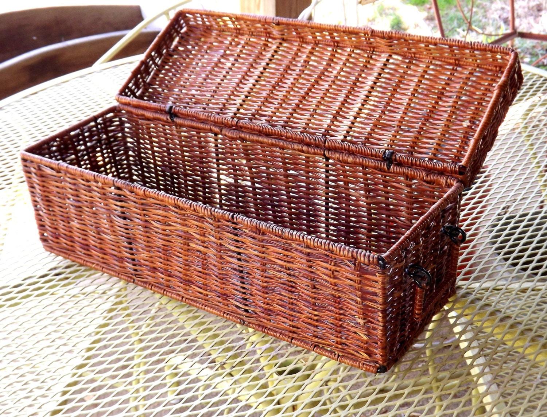 Wicker Basket Long Narrow Rectangle Hinged Lidded Wicker