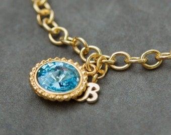 Gold Initial Birthstone Bracelet, New Grandma Gift, New Mom Push Present, Initial Bracelet Gold