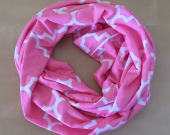 Valentine's Day - jersey knit infinity scarf - pink and white quatrefoil