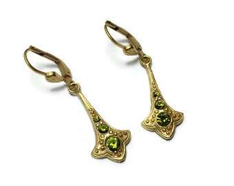 Art Nouveau Gold Earrings with Emerald Green Swarovski Crystals