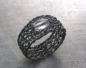 Clear Quartz Ring, Oxidized Fine Silver Wire Crochet Ring, Gemstone Jewelry
