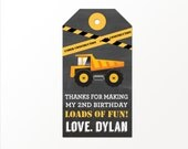 Construction Party Thank You Tags - PRINTED or PRINTABLE Construction Favor Tags by 505 Design, Inc