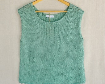 Organic Cotton Hand-knit Sweater/Shell/Vest in Aqua