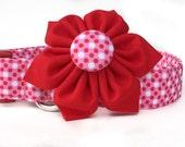 Red Pink Polka Dot Dog Collar & Flower / Valentines dog collar / Dog Collar Flower / Pink Red Dog Collar, Girl Dog Collar, Valentines Collar