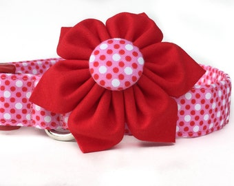 Red Pink Polka Dot Dog Collar & Flower / Valentines dog collar / Dog Collar Flower / Pink Red Dog Collar, Girl Dog Collar, Valentines Collar