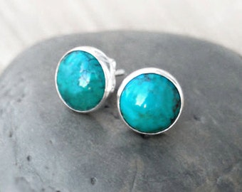 Turquoise Stud Earrings - Sterling Silver Button Studs in Natural Turquoise Simple Classic Everyday MADE TO ORDER