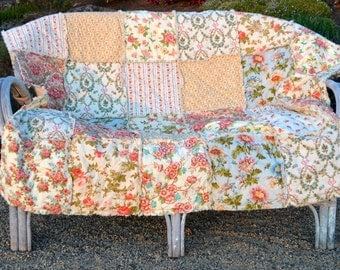 Queen Size Rag Quilt and Pillow Shams, coral, peach, blue, Along The Garden Path