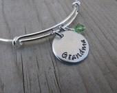 "Grandma Bracelet- Bangle Bracelet- Adjustable Bangle Bracelet with Hand-Stamped ""Grandma"" and an accent bead of choice"