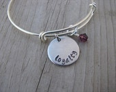"""Loyalty Inspiration Bracelet- """"loyalty"""" with an accent bead in your choice of colors- Hand-Stamped Bracelet"""