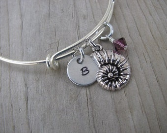 Beach Bangle Bracelet- Adjustable Bangle Bracelet with Hand-Stamped Initial, Shell Charm, and accent bead