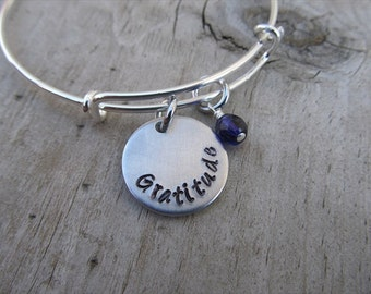 """Gratitude Inspirational Bracelet- """"Gratitude"""" with an accent bead of your choice"""