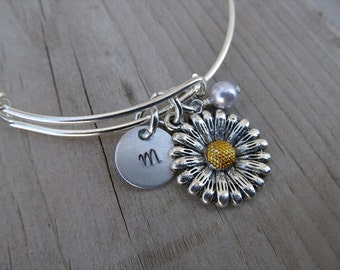 Flower Bangle Bracelet- Adjustable Bangle Bracelet with Hand-Stamped Initial, Flower Charm with golden center, and accent bead