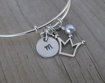 Crown Bangle Bracelet- Adjustable Bangle Bracelet with Hand-Stamped Initial, Crown Charm, and accent bead of choice- Personalized Gift