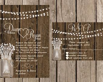 Rustic Wedding Invitation, Country Wedding Invitation, Shabby Chic Wedding Invitation, Wood Wedding Invitaiton, Whimsical