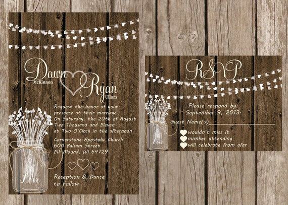 Rustic Wedding Invitation, Rustic Heart Wedding Invitation, Wood Wedding Invitaiton, Country Wedding Invitation,Custom