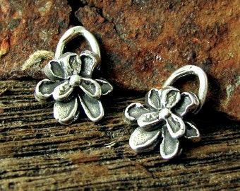 Sterling Silver Artisan Flower Charms  - 2 lil Organic Pansy Charms  12.25mm tall  AC124