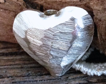 Large Silver Heart Bead - Brushed Finish - Large Hole - Inner Diameter 2.25mm - Fine Silver - Karen Hill Tribe MB227