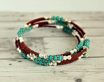 turquoise beaded bracelet, memory wire, boho bracelet, bohemian jewelry, gift for her