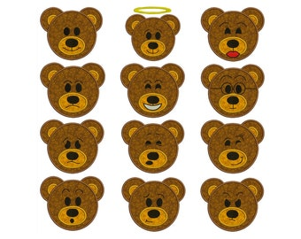 EMOTE BEARS - Machine Applique Embroidery - Instant Digital Download