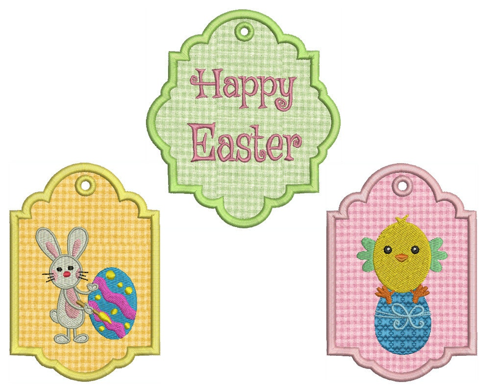 Easter machine embroidery in the hoop tags patterns