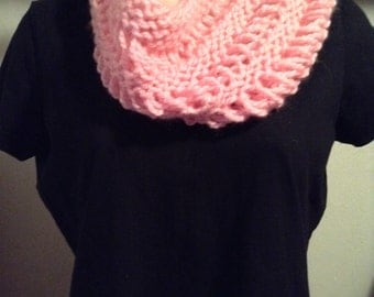 Hand Knit Cowl Scarf, Pink Lace Drop-stitch Scarf, Infinity Scarf, Christmas Black Friday Gifts for Women
