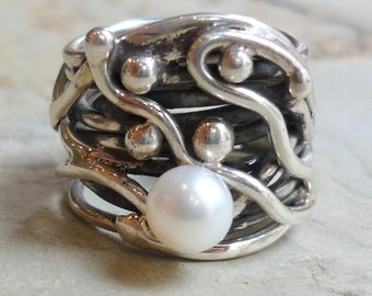 Sterling Silver Ring, Wide Silver Band, White Pearl Ring, Chunky Silver Ring, Wide Band, Statement Ring