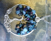 Tree of Life Pendant- Rainbow Mystic Titanium AB Quartz /Aquamarine/Apatite Tree of Life Pendant Necklace- March Birthstone