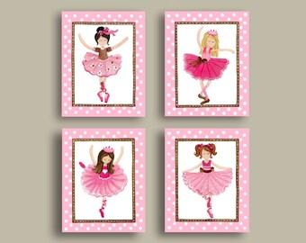 Ballerina nursery art, girls nursery wall art decor, ballet room art prints, pink brown decor, dance art
