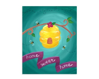 Home Sweet Home - Bees and Bee Hive Print