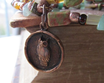 Rustic Copper Owl Charm Memory Wire Bracelet - Jade and Jasper Stones - Layered Jewelry - Copper and Green