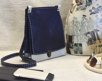 Crossbody travel purse - - NAVY and WHITE leather