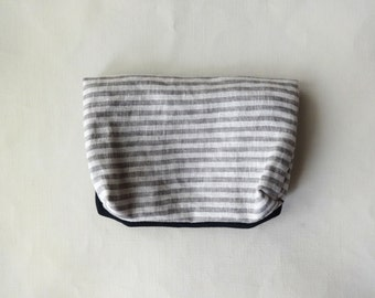 Pouch / Cover ( gray stripe + dark blue ) x Notebook