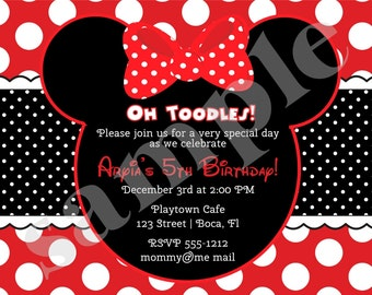 Minnie Mouse Invitation Minnie Birthday Invitation invite Minnie birthday party red photo picture printable DIgital DIY