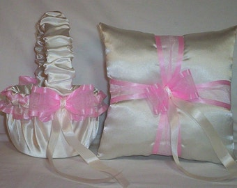 Ivory Cream Satin With Light Pink Ribbon  Flower Girl Basket And Ring Bearer Pillow Set 2